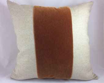 Custom oatmeal linen and copper mohair stripe pillow cover