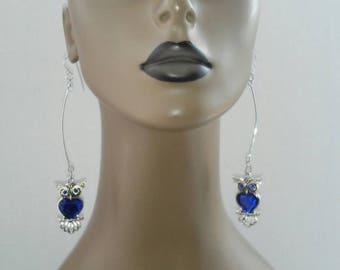 Beautiful Dangling Owl Earrings, Womens Earrings, Long Earrings, Womens Jewelry, Large Earrings, Dangling Earrings, Fashion Earrings