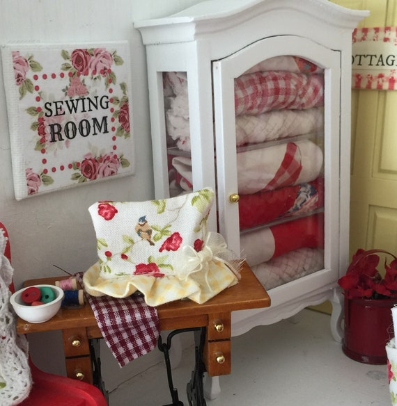 """Miniature Shabby Sewing Room Canvas 2"""" x 2"""""""