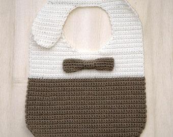 Bow Tie Bib Baby Crochet Pattern Preemie Bib Newborn Bib Crochet Bow Tie Baby Crochet Bib (BTB01-W-PAT)