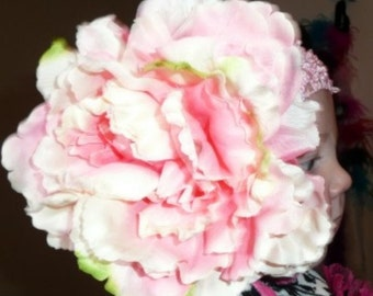 Large Pink Peony Hair Flower Accessory With Pink Jewel Center, Photo Prop