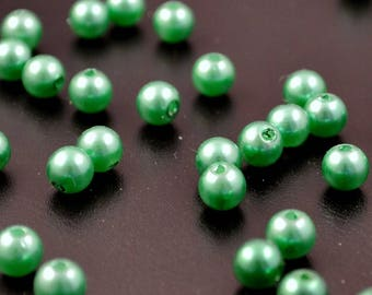 100 aspects Pearl, glass beads collar: 8 mm Green