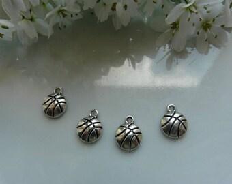 x 2 pendant silver basketball charms