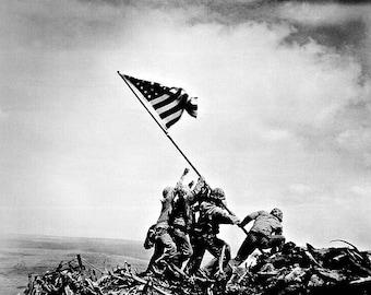 Iwo Jima USA Flag Raising Photo