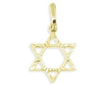 14k Yellow Gold Jewish Star Of David Charm Pendant