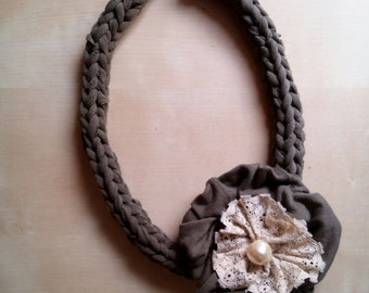 Fabric Necklace-Romantic style-short choker necklace with flower and pearl-elegant necklace with recycled material