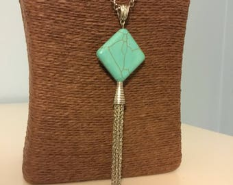 Tassel Necklace Long Chain Necklace Turquoise Necklace Silver Tassel Necklace