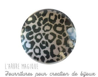 2 cabochons to glue skin leopard black and white glass 16 mm M320