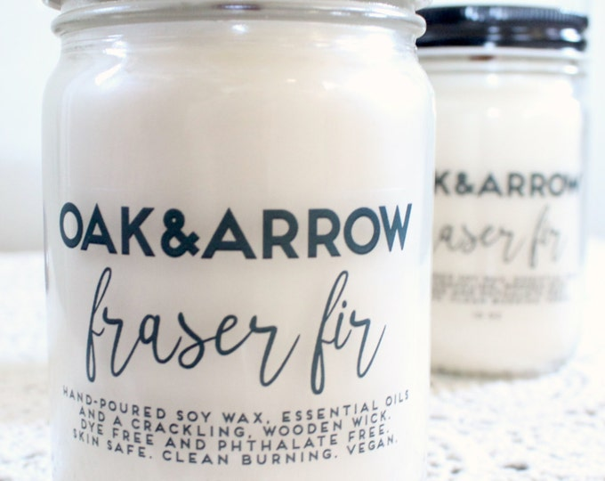 FRASER FIR//Soy Wax Wood Wick Candle//Hand Poured Soy Candle//10oz