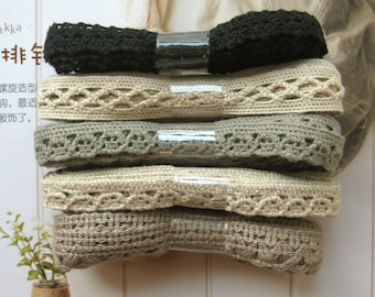 Cotton Lace Fabric Trim - Thin Cream Green Black Brown Scallop Floral Cotton Lace TRIM 5 Designs 10 Meters LAST SET