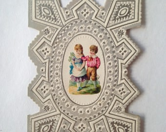 antique Victorian boy girl Valentine's Day Card; late 1800's romantic old fashioned; yesteryears Edwardian; collage, scrap book ephemera