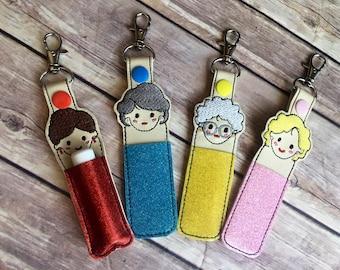 Lip balm holder, Golden Girl Lip balm holder,  Lip balm cozy, Lip balm keychain, Gift for her, Best Friend present