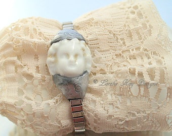 Frozen Charlotte Doll Head Bracelet Expansion Band Doll Vintage Watch With Doll Lorelie Kay Designs Original
