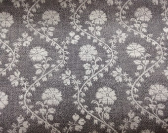 Gray fabric by the yard - grey fabric by the yard - gray floral fabric - gray flower fabric - grey flower fabric - grey floral fabric #15327