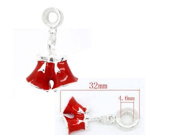 Clip ring Christmas representing pants Santa, red and silver color, total size approx 32mm