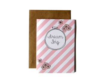 Dream Big Embroidery Hoop Card