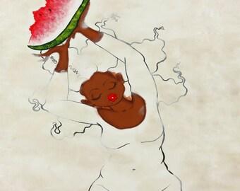Prints:5x7White Series Believe U R Special ! Affirmation Natural Hair by karin turner KarinsArt  watermelon african american