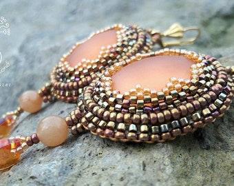 Sunshine Earrings, bead embroidered earrings, beadwork, women's jewellery, gift for her