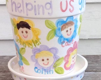 teacher gift // large flower pot and saucer personalized with children's faces... Cute for grandparents too