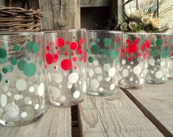 Vintage Dot Glasses - Set of 6 - French Tumblers - Retro Glasses - Vintage Juice Glasses - Gondolo - Red and Green - Retro Glassware