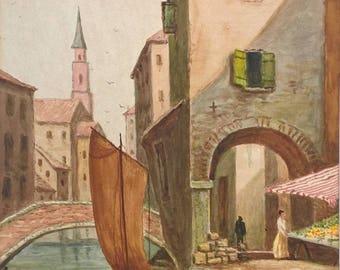 F Fowler 1928 Signed Original Vintage Watercolour Painting Venice Landscape No1 Italy Italian City