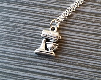 Cake Mixer Necklace - Baker Charm Necklace - Cook Personalized Necklace - Custom Gift - Initial Necklace - Baking Necklace - Chef Necklace