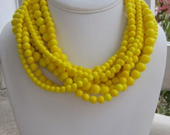 Chunky Yellow Necklace, Yellow Jewelry, Yellow Statement Necklace, Gifts for her, Bold necklace, Bright Yellow Jewelry, Lemon Yellow