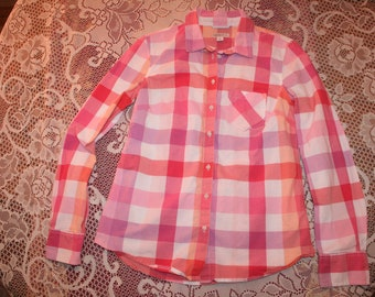 PASTEL PINK PLAID shirt,pink plaid shirt,pink plaid blouse,pink checkered shirt,plaid shirt women,checkered shirt,checkered blouse,small