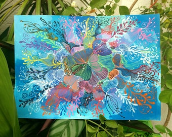 "Decorative aPintura, intuitive art, abstract painting, done with markers posca and acrylic painting titled ""Flowers"""