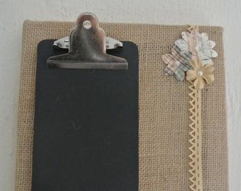 Chalkboard Burlap Message Board