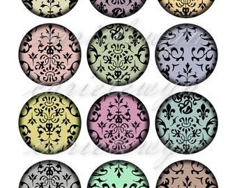 Damask Vintage Printable 1-Inch Circles / Bottlecap Images / Damask Motif Vintage Pastel Hues Digital Collage / Instant Download