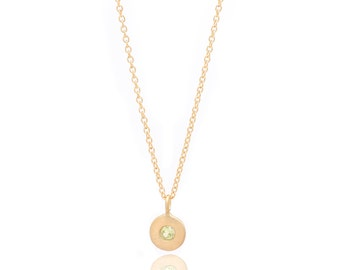 Floating Peridot Necklace - Delicate 14k Gold Filled Chain - Small Gold Vermeil Disc and Gemstone Charm - 16in. Necklace