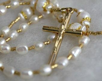 Delicate Golden Pearl Rosary; First Communion Rosary; Catholic Prayer Beads; Handmade Rosary; pocket rosary; single decade rosary