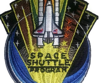 """Space shuttle embroidered patch-heat sealed-sew on backing-size 3.5 X 2.5"""""""