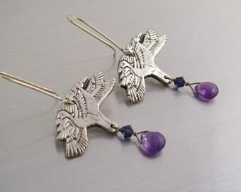Fine Silver PMC Earrings - Birds in Flight - Silver Amethyst and Swarovski Crystals - Silver Dangle Earrings with Amethyst Drops