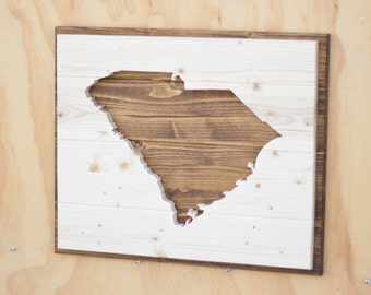 South Carolina State Wood Plaque Silhouette