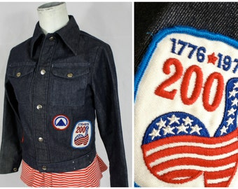 Vintage 70s Trucker Blue Jean Jacket w/ 3 Retro 1970s Red White + Blue Patches | Womens XS | 30 Bust | Hipster Dark Rinse Work Wear