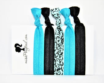 Elastic Hair Ties, Black Hair Ties, Mint, Handmade, Elastic Ribbon, Ponytail Holder, Knotted Hair Ties, Bracelet Hair Ties, Girl Gifts, FOE