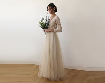Long Sleeves Maxi Dress Champagne tulle and lace , Tulle and lace Champagne dress 1125