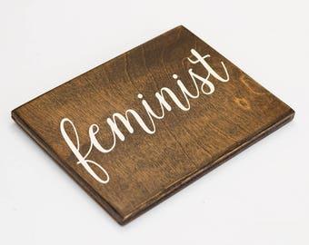 feminist sign, feminism, feminist wall decor, feminist gift, feminist office decor, feminist af, girl power, feminist art, wood sign