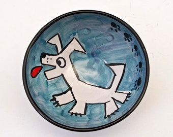 Ceramic Small Serving Bowl, White Dog,  Pottery Bowl Dish, Cereal Ice Cream Bowl, Clay Bowl, Majolica Bowl - Blue, Small Prep Bowl -Terrier