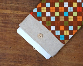 30% OFF SALE White Linen MacBook Case with retro squares pocket. Case for MacBook 11 Air. Sleeve for MacBook Air 11 inch.