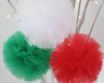 Set of 3 tulle pom poms - small 10cm (4 inch) party decoration balls