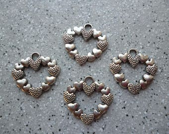 4 Charms 24 mm silver metal hearts