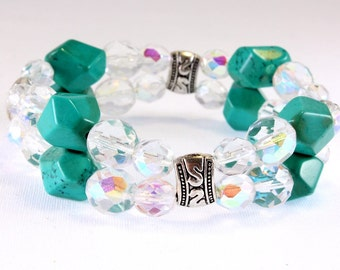 Turquoise Howlite and Czech Crystal Stretch Bracelet