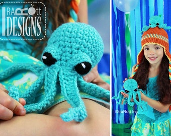 CROCHET PATTERN Inky the Octopus Hat and Toy Set Crochet Pattern PDF Instant Download