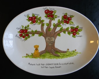 EXTRA Large Personalized Family Tree Platter - Handpainted 16 Inch Oval Family Platter - Personalized - Great Gift