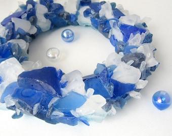 Sea Glass Wreath Beach Decor, Nautical Home Decor Beach Glass Wreath, Seaglass Wreath, Sea Glass Art, Beach House Decor, DK BLUE  - #SGW100