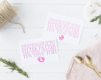 Pitter Patter - New Baby Girl card (Pink)