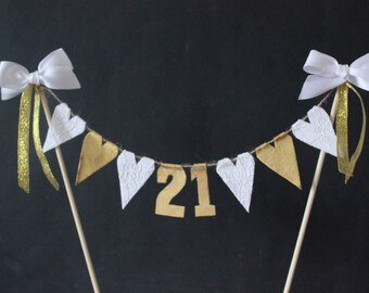 21st Birthday cake topper, birthday cake bunting with white lace and gold hearts, cake banner, 21st birthday party decor